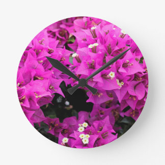Purple Fuchsia Bougainvillea Background Round Clock