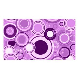Purple Funky Retro Circles Pattern Business Card