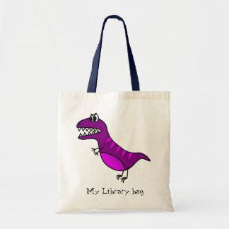 Purple funny angry dinosaur kid's library bag