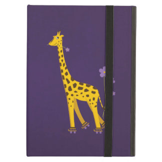 Purple Funny Giraffe Roller Skating Kickstand iPad Air Cover
