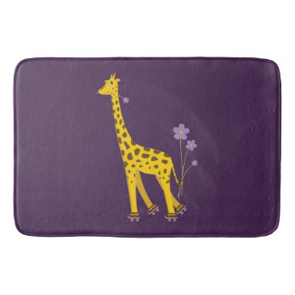 Purple Funny Roller Skating Giraffe Bath Mat