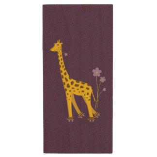 Purple Funny Roller Skating Giraffe Wood USB 2.0 Flash Drive