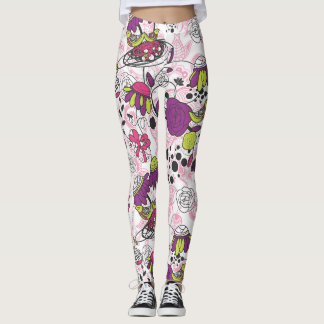 Purple Fuschia Birds and Flowers Leggings