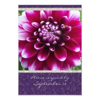 Purple Fuschia Dahlia rsvp with envelopes Card