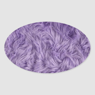 PURPLE FUZZY FUR OVAL STICKER