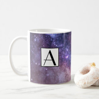 Purple galaxy background, custom coffee mug