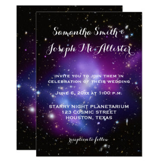 Purple Galaxy Cluster Planetarium Wedding Card