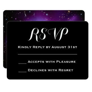 Purple Galaxy Cluster Planetarium Wedding RSVP Card