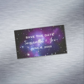 Purple Galaxy Cluster Wedding Save the Date Magnetic Business Card