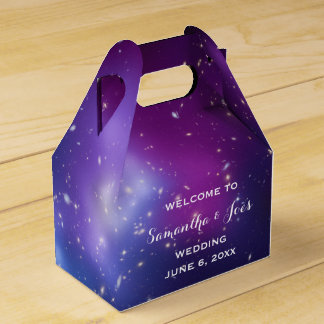 Purple Galaxy Cluster Wedding Welcome Favor Favour Box