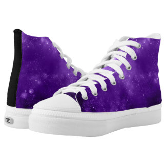 Purple Galaxy high top tennis shoes Printed Shoes
