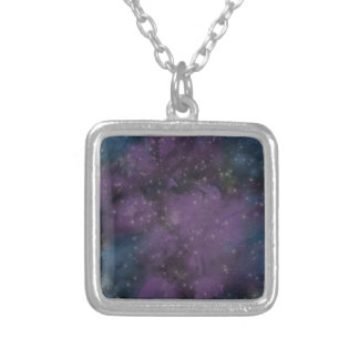 Purple Galaxy Nebula Silver Plated Necklace