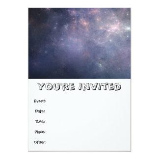 Purple Galaxy with Stars 13 Cm X 18 Cm Invitation Card