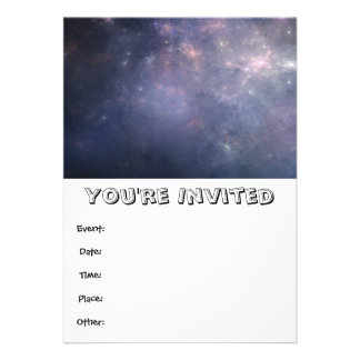 Purple Galaxy with Stars Personalized Invitation