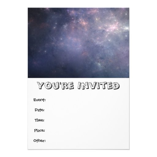 Purple Galaxy with Stars Personalized Invitation