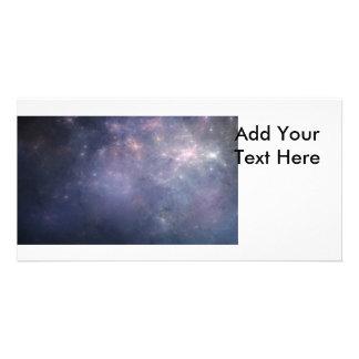 Purple Galaxy with Stars Custom Photo Card
