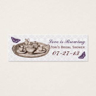 Purple Garden Bridal Tea Party Gift Bag Tags Mini Business Card