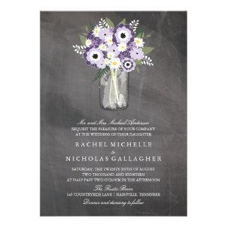Purple Garden Mason Jar Chalkboard | Wedding Custom Invite