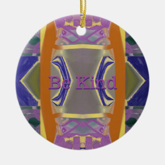 Purple Gardens Abstract with your Words Round Ceramic Decoration
