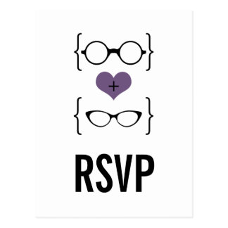 Purple Geeky Glasses RSVP Postcard