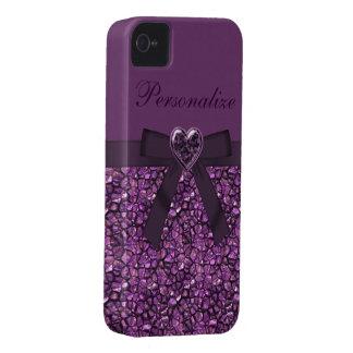 Purple Gem Stones & Heart Jewel Print iPhone 4 Case-Mate Cases