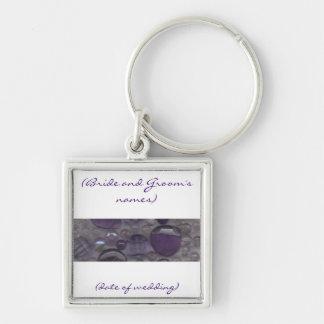 Purple Gems Wedding Keyring Silver-Colored Square Key Ring