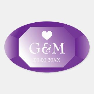 Purple gemstone monogram wedding favor stickers