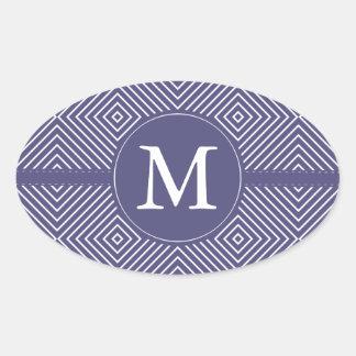 Purple Geometric Abstract Monogram Oval Sticker