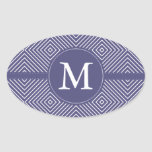 Purple Geometric Abstract Monogram Stickers