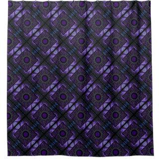 Purple Geometric and Fractal Design Shower Curtain