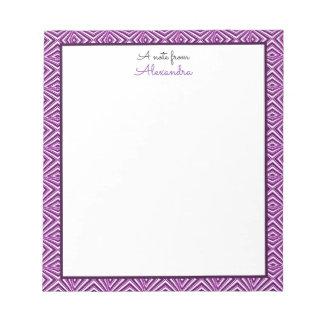 Purple Geometric Border with Monogram Notepad