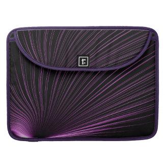 Purple Geometric Lines On Black, Macbook Sleeve