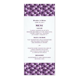 Purple Geometric Triangles Wedding Menu Invitation