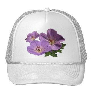 Purple Geranium Flowers Cap