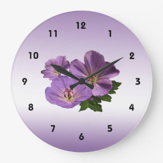 Purple Geranium Flowers Large Clock