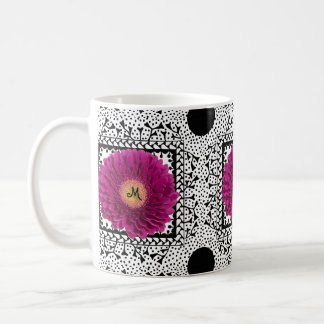 Purple Gerbera Daisy Monogram Mug