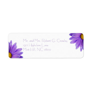 Purple Gerbera Daisy Return Address Label