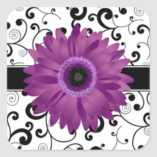 Purple Gerbera Daisy with Black Scroll Design Seal