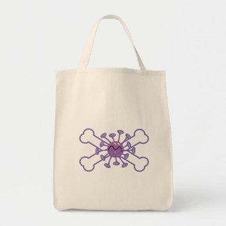 purple germy germ and crossbones design grocery tote bag