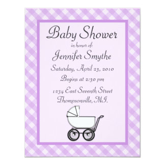 "Purple Gingham Baby Shower Invitations 4.25"" X 5.5"" Invitation Card"