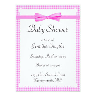 Purple Gingham Baby Shower Invitations