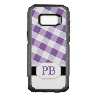 Purple Gingham Monogram Samsung Galaxy S8 OtterBox Commuter Samsung Galaxy S8+ Case