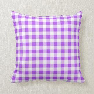 Purple Gingham Pattern Cushion