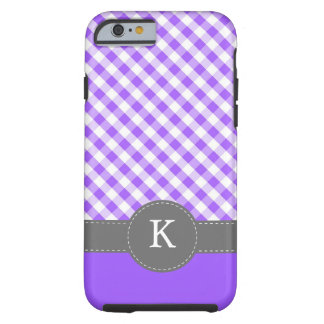 Purple Gingham Pattern Custom Monogram Tough iPhone 6 Case