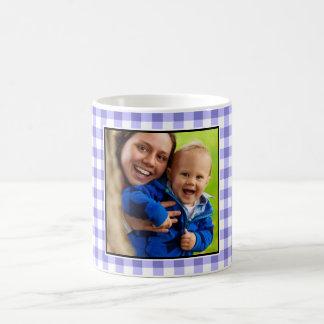 Purple Gingham Pattern Custom Photo Coffee Mug