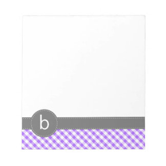 Purple Gingham Pattern Monogram Notepad