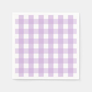 Purple Gingham Pattern Paper Napkin