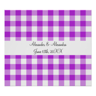 Purple gingham pattern wedding favors poster