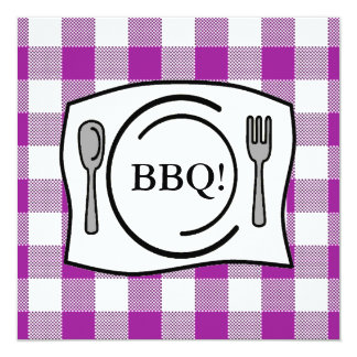 Purple Gingham Tablecloth BBQ Card