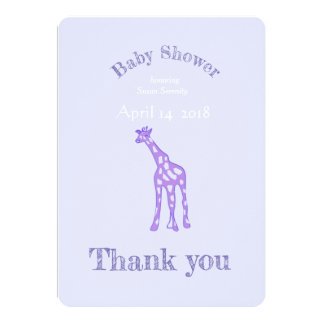 Purple giraffe  baby shower no 2 -  - thank you card